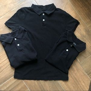 Boys black polo uniform tops size 7/8  3 pc bundle